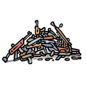 A cartoon drawing of a pile of guns.