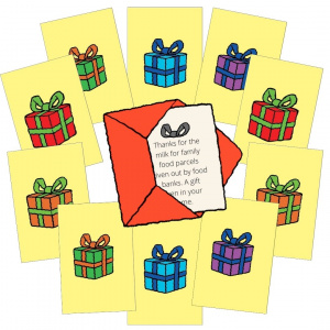 A cartoon showing 10 Little Good Gifts cards with a different coloured present on each one. In the middle is a little red envelope with the message of one of the gift cards sticking out.