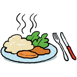 A cartoon drawing of a plate with food on it and steam rising, with a knife and fork next to the plate.
