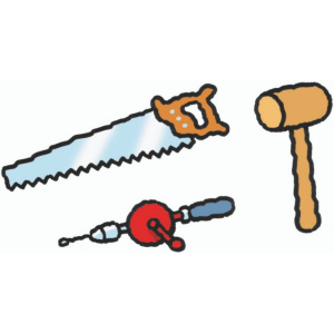 A cartoon drawing of a saw, hammer and a mechanical hand drill.