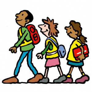 A cartoon drawing of three children walking in a line, with school bags on.