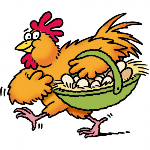 A cartoon drawing of a chicken carrying a basket full of eggs.