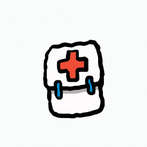 A cartoon drawing of a white first aid kit with a red cross on it.