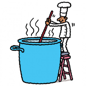 A cartoon of a chef standing on a step ladder stirring a giant blue pot.