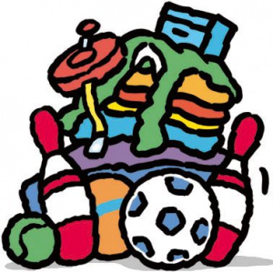 A cartoon drawing of a pile of toys.