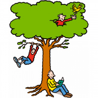 A cartoon drawing of a large tree, with a person sat against the trunk reading a book, a chid swinging off one of the lower branches, and another child appearing out of the leaves and holding out his hand towards a yellow bird.