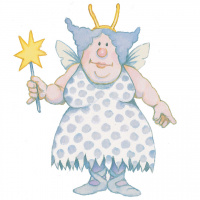 A cartoon drawing of a fairy wearing a spotted dress, with small wings on her back and holding a wand with a star on it in one hand.