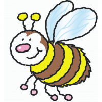 A cartoon drawing of a smiling bee.