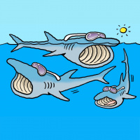A cartoon of three basking sharks wearing sunglasses and swimming in the sea with their mouths open.