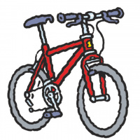 A cartoon drawing of a red bike.