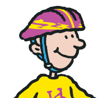 A cartoon drawing of a teenage boy wearing a purple and yellow bike helmet and smiling.
