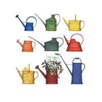 A drawing with a white background and 3 rows of colourful watering cans.