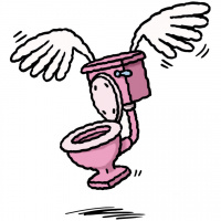 A cartoon drawing of a flying pink toilet, with large white wings.