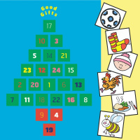 A blue advent calendar with 24 numbered squares in the shape of a Christmas tree, at the top are the words 'Good Gifts'. On the right hand side are six squares with cartoons in them, showing from top to bottom: a football, a pair of socks, a baby wearing