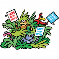 A cartoon of a green bush, with a snake, a monkey, a panther and a parrot poking their heads out of the leaves. The monkey and the panther are holding signs saying 'Save our trees' and the parrot is holding a sign saying 'Save the forest'.