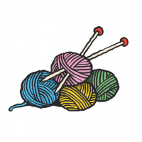 A cartoon drawing of four balls of yarn in different colours, with a pair of knitting needles sticking out of one of the balls.