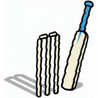 A cartoon drawing of a cricket bat and and stumps.