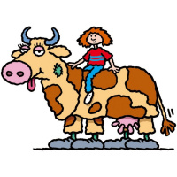 A cartoon drawing of a young girl sitting on the back of a pantomime cow.