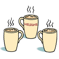 Cartoon drawing of three mugs with steam rising out of them. The middle mug says 'Welcome' on it.