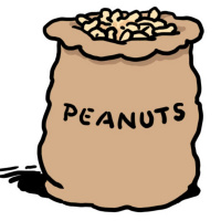 A cartoon sack full of peanuts and with the word 'peanuts' written on it.