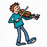 A cartoon drawing of a boy playing the violin, his eyes are closed and he is smiling.