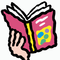 A cartoon drawing of a hand holding up an open book with a pink cover.