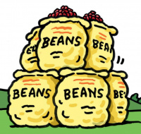 A cartoon of 6 sacks of beans piled on top of each other in a green field.